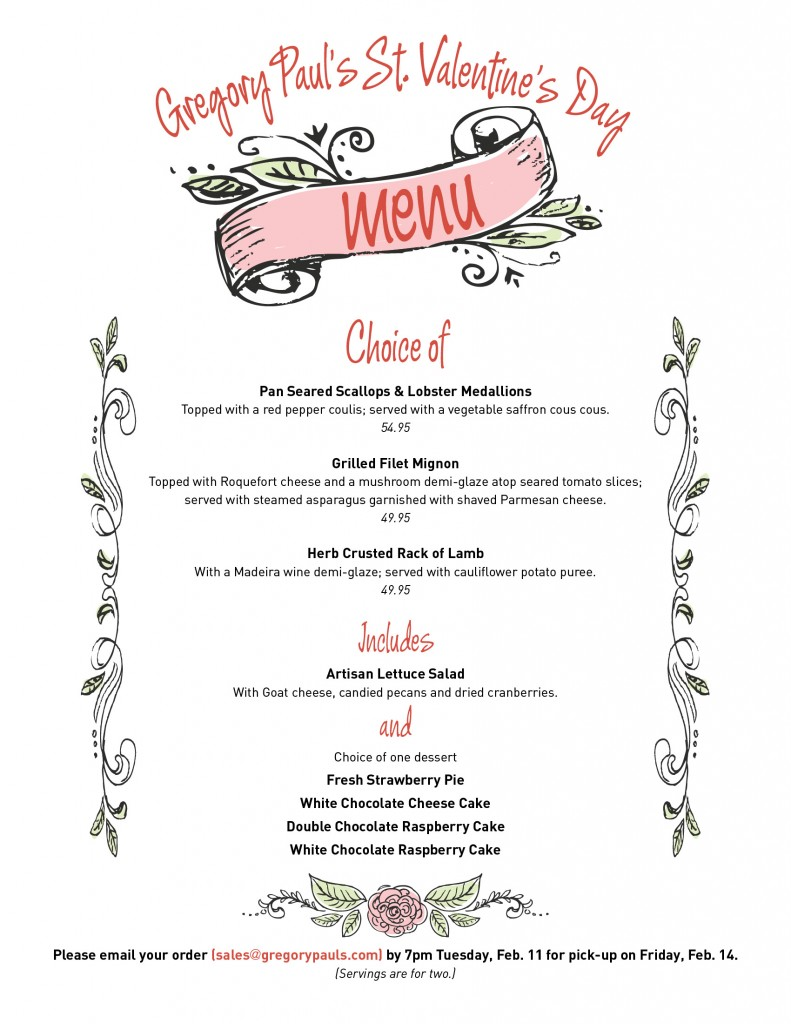 Gregory Paul's Valentine's Day Menu
